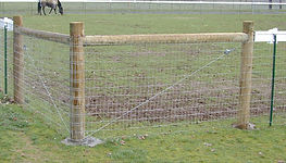 "Wood and ""T"" Posts with 2 x 4 Woven Wire Corner by Wayne's Fencing"