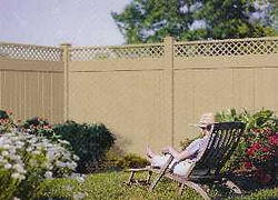 PVC Khaki Lattice Topped Privacy Fence by Wayne's Fencing