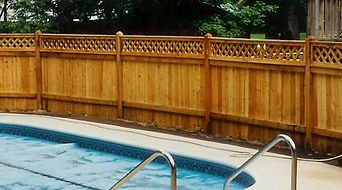 Lattice Topped Cedar Privacy Fence to Enclose Your Pool by Wayne's Fencing
