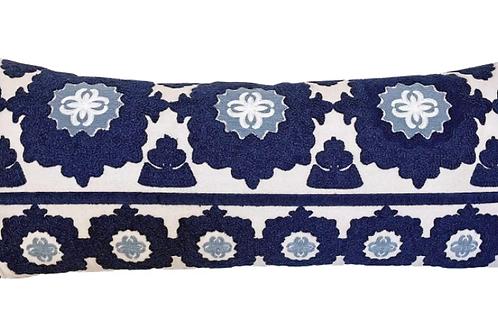 Embroidered Navy Blue Samarkand Lumbar Accent Pillow