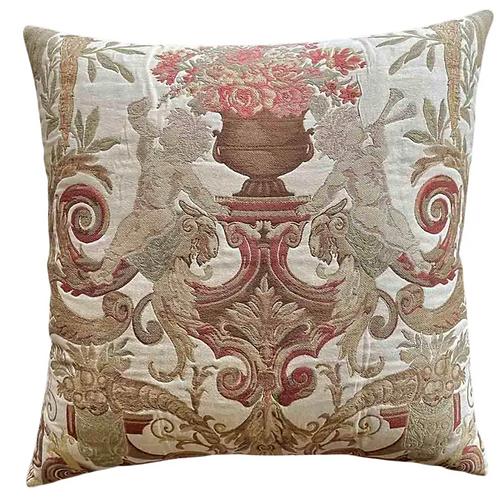 Vintage High End Aubusson Cherubs Designer Accent Euro Pillow Cover & Insert