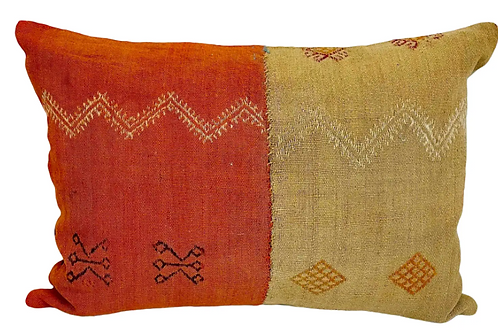 Saffron and Mustard Vintage Flat Weave Chopra Rectangle Pillow Cover & Insert