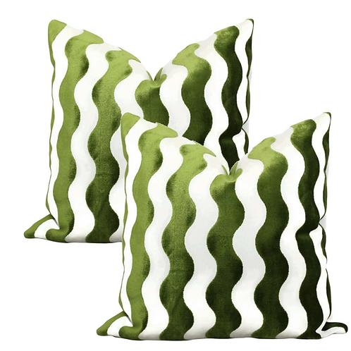 Schumacher the Wave Velvet Accent Pillows - Set of 2