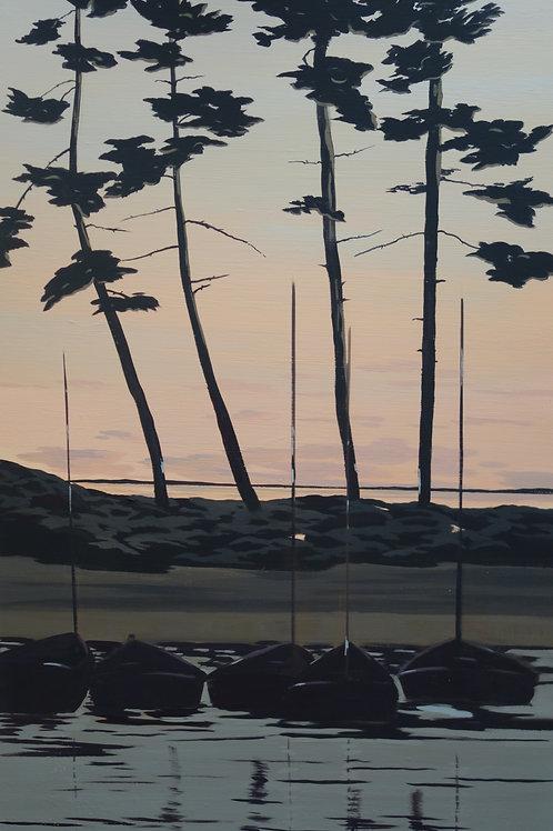 Crépuscule sur le port du Betey