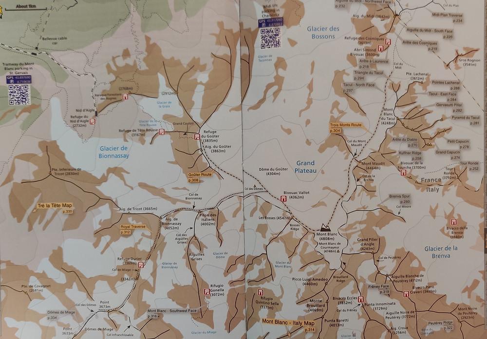 Karte Chamonix Mont Blanc Royal Traverse