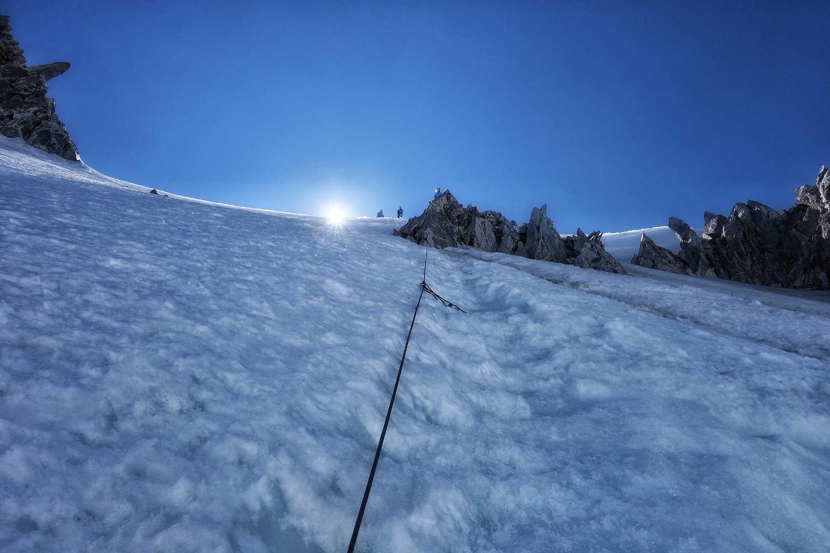 Abseilpassage am Mont Maudit