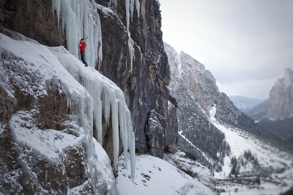 Eisklettern Südtirol Gadertal Pederü Dolomiten
