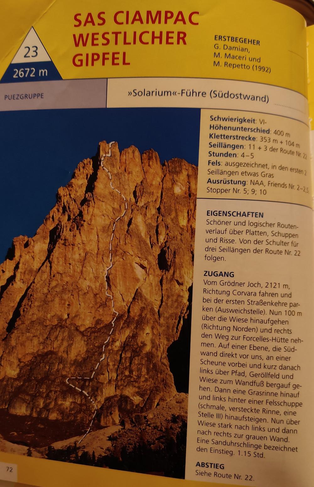 Sas Ciampac Solarium Topo Dolomiten Alpinklettern Südwand