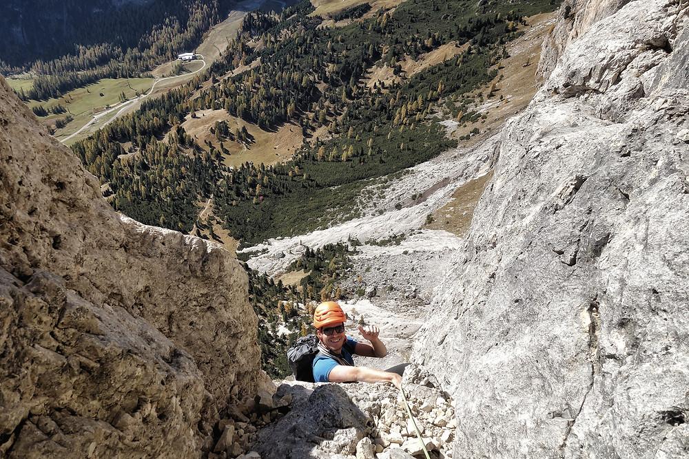 Alpinklettern Sass Ciampac Adang Südtirol Dolomiten