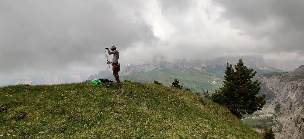 Alpinklettern Dolomiten Triathlon Führe Westlicher Turm Meisules dala Biesces Gröden Südtirol