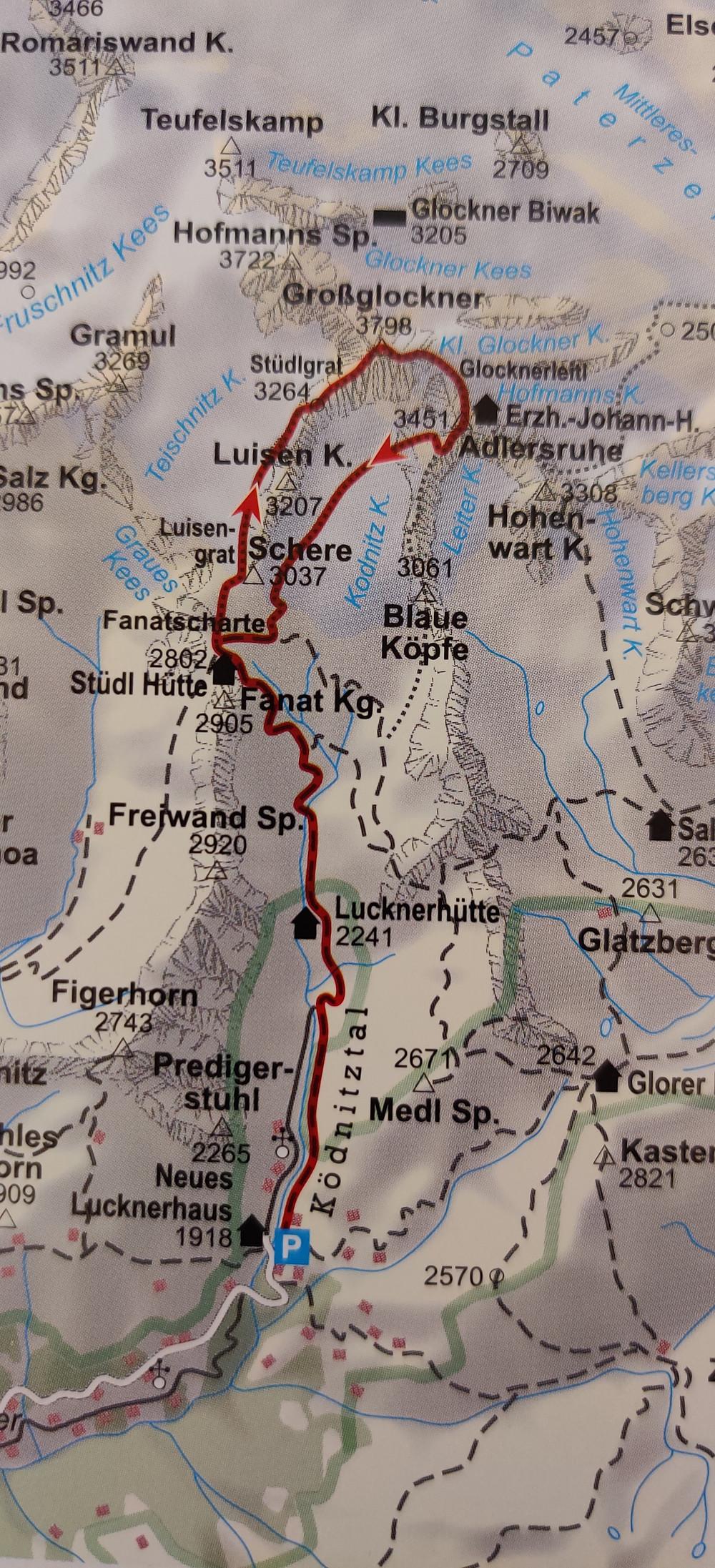 Karte Grossglockner Stüdlgrat Wegbeschreibung