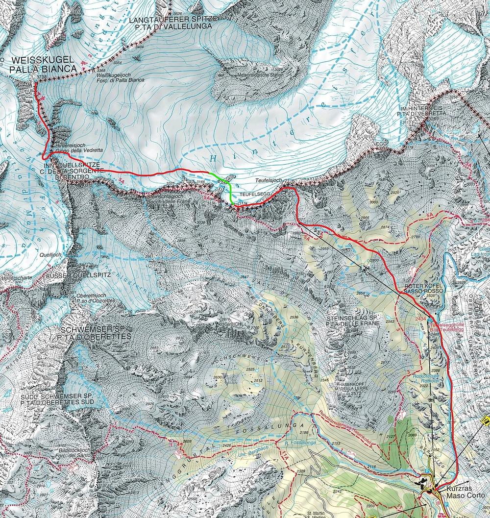 Skitour Weisskugel Südtirol Schnals Kurzras