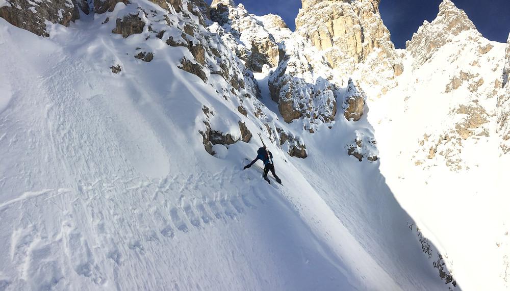 Skitour Plattkofel Nordrinne Südtirol Dolomiten Rinne