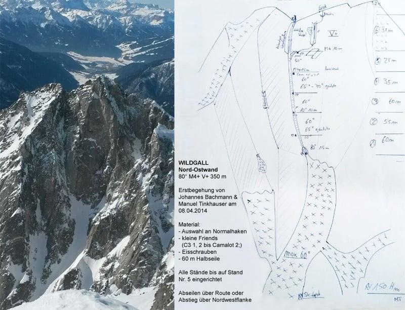 Nordwand Wildgall Topo Seltene Erden Südtirol Alpin