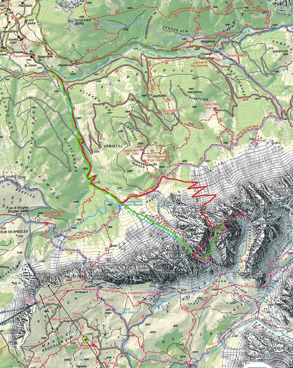 Karte Sas Rigais Sass Rigais Wegbeschreibung Nordwestrinne Skitour