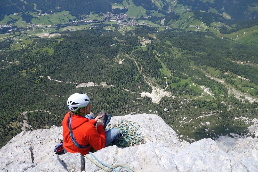 Heiligkreuzkofel Große Mauer Alpinklettern Südtirol Dolomiten Gadertal