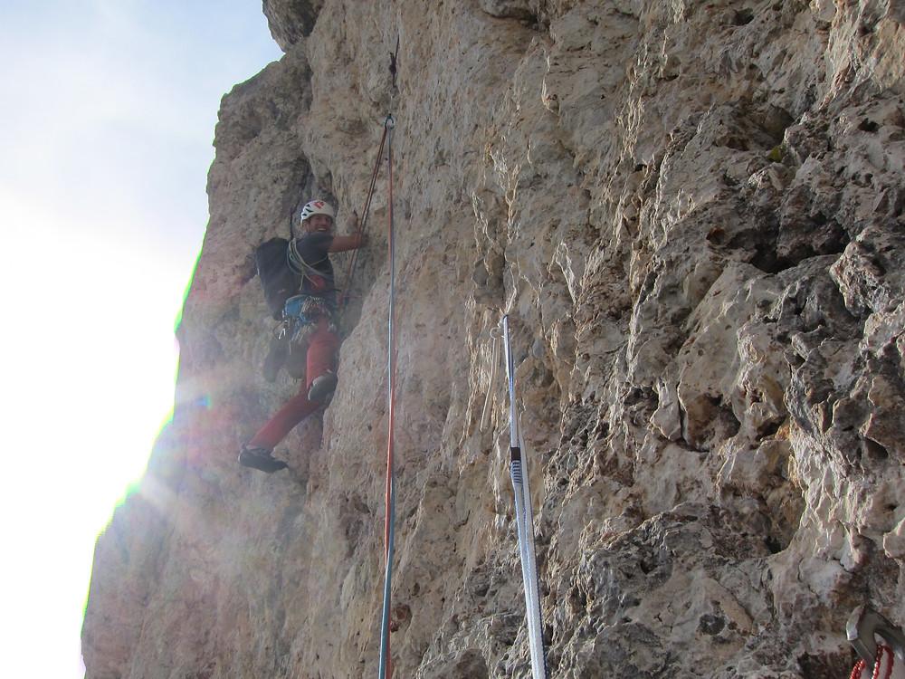Alpinklettern Dolomiten Sas Ciampac Solarium Herbst Südwand
