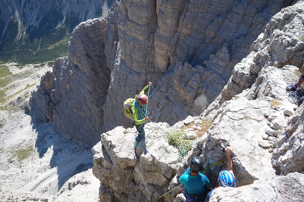 Gelbe Kante kleine Zinne 3 Zinnen Alpinklettern Dolomiten