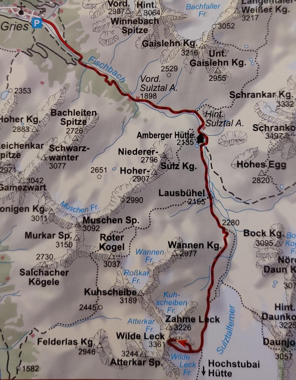 Karte Wilde Leck Ostgrat Wegbeschreibung Himmelsleiter