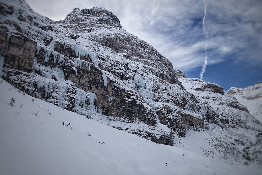 Eisklettern Travenanzes Dolomiten Sogno Canadese