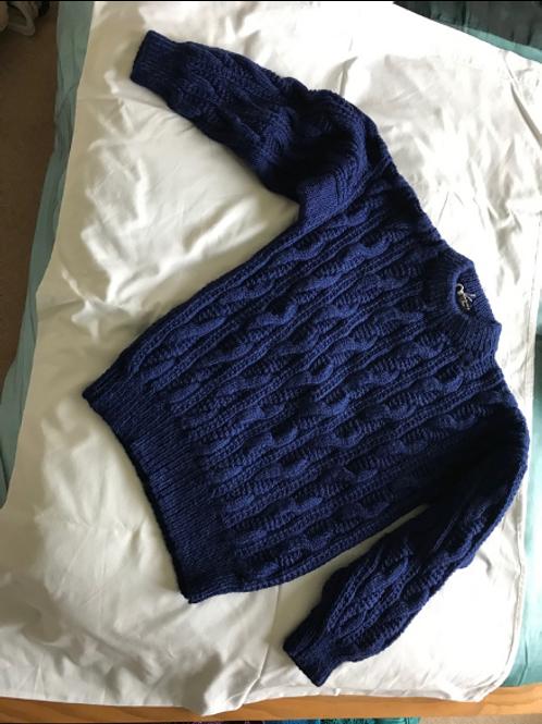 Navy Aran Style Sweater
