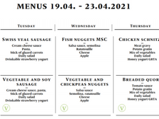 Lunch Menu - 19/04