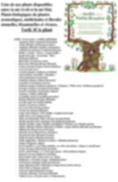 Liste 2020 de nos plants disponibles ent