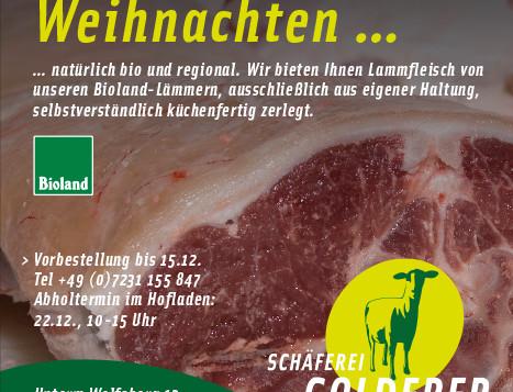 Lammfleisch zu Weihnachten – natürlich bio und regional.