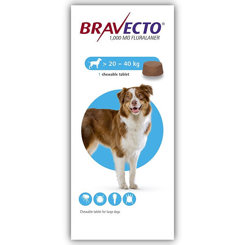 Bravecto Chewable For Dogs 44-88 lbs (20-40 kg)