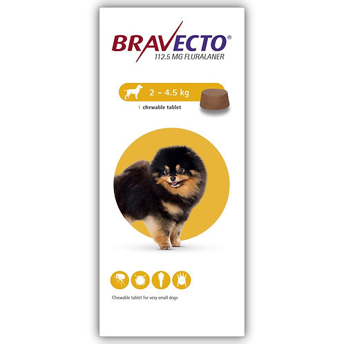 Bravecto Chewable For Dogs 4.4-9.9 lbs (2-4.5 kg)
