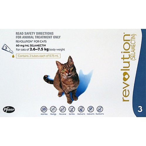 Revolution Blue Cats 5.7-15.5lbs (2.6-7.5kg) - 3 Pack