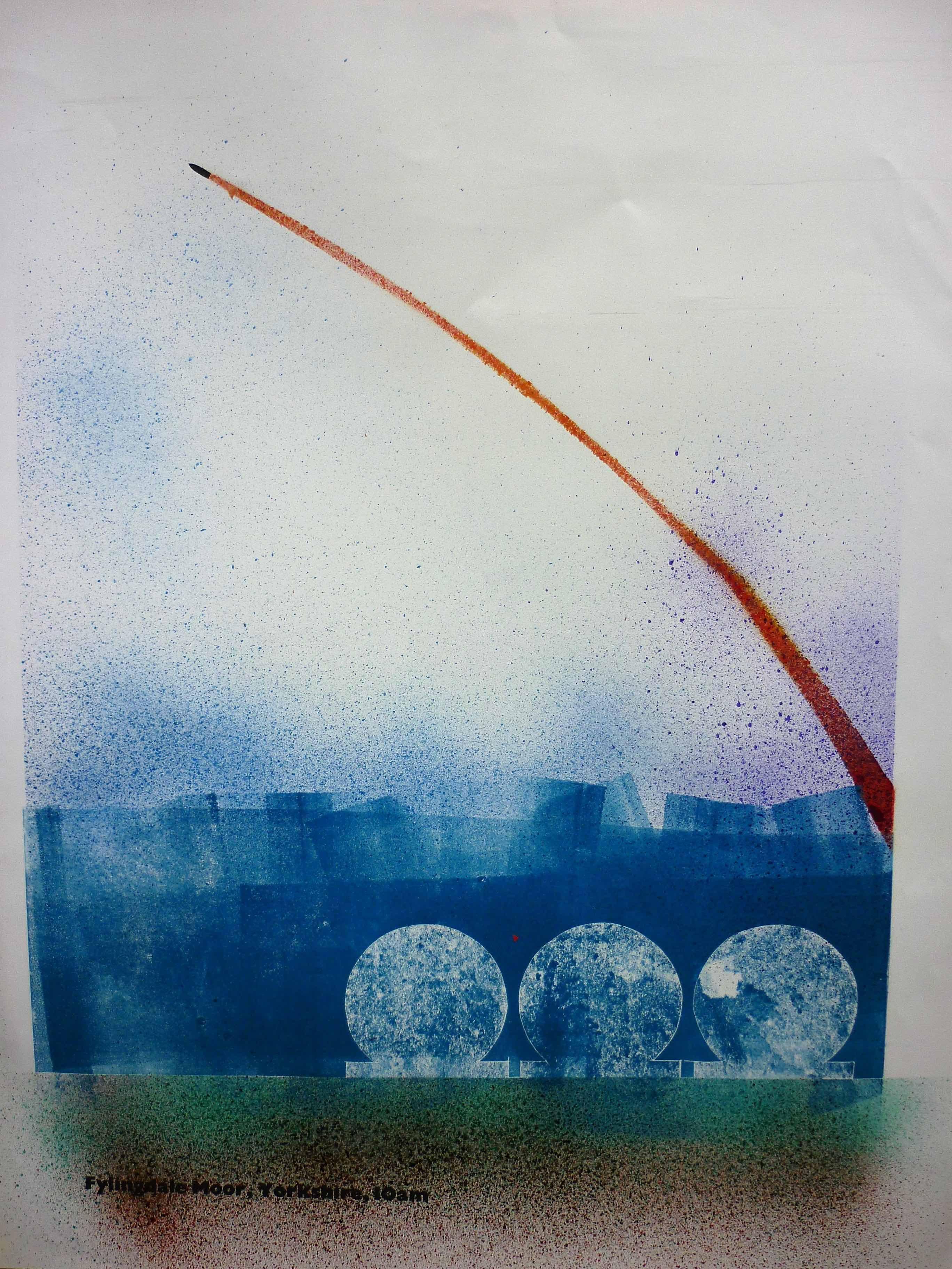 Jeff Perks-Fylingdale Moor. Yorkshire.10am. Cardboard Cut and Spray. 60x40cm