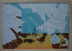 Jeff Perks.Summer Wind. Linocut.60x40cm