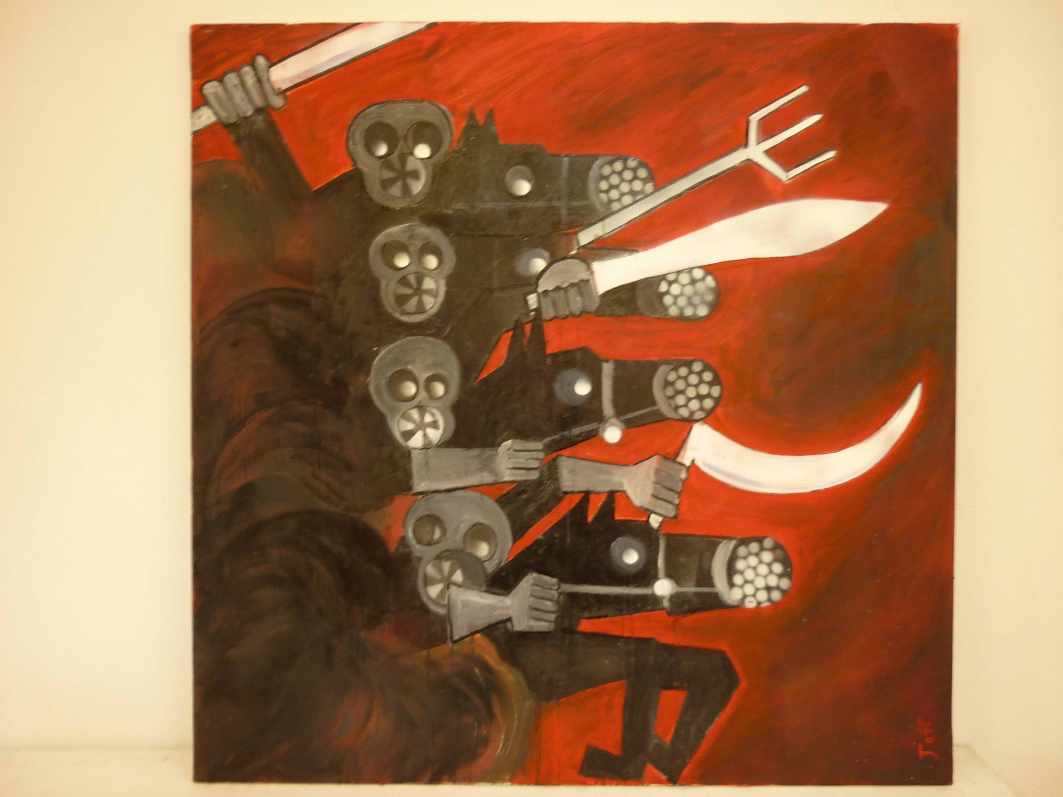 Jeff Perks- Apocalypse Now! Painting Oil and Motor Spray 90x90cm