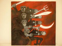Jeff Perks- Apocalypse Now! Painting Oil and Motor Spray 90x90cm