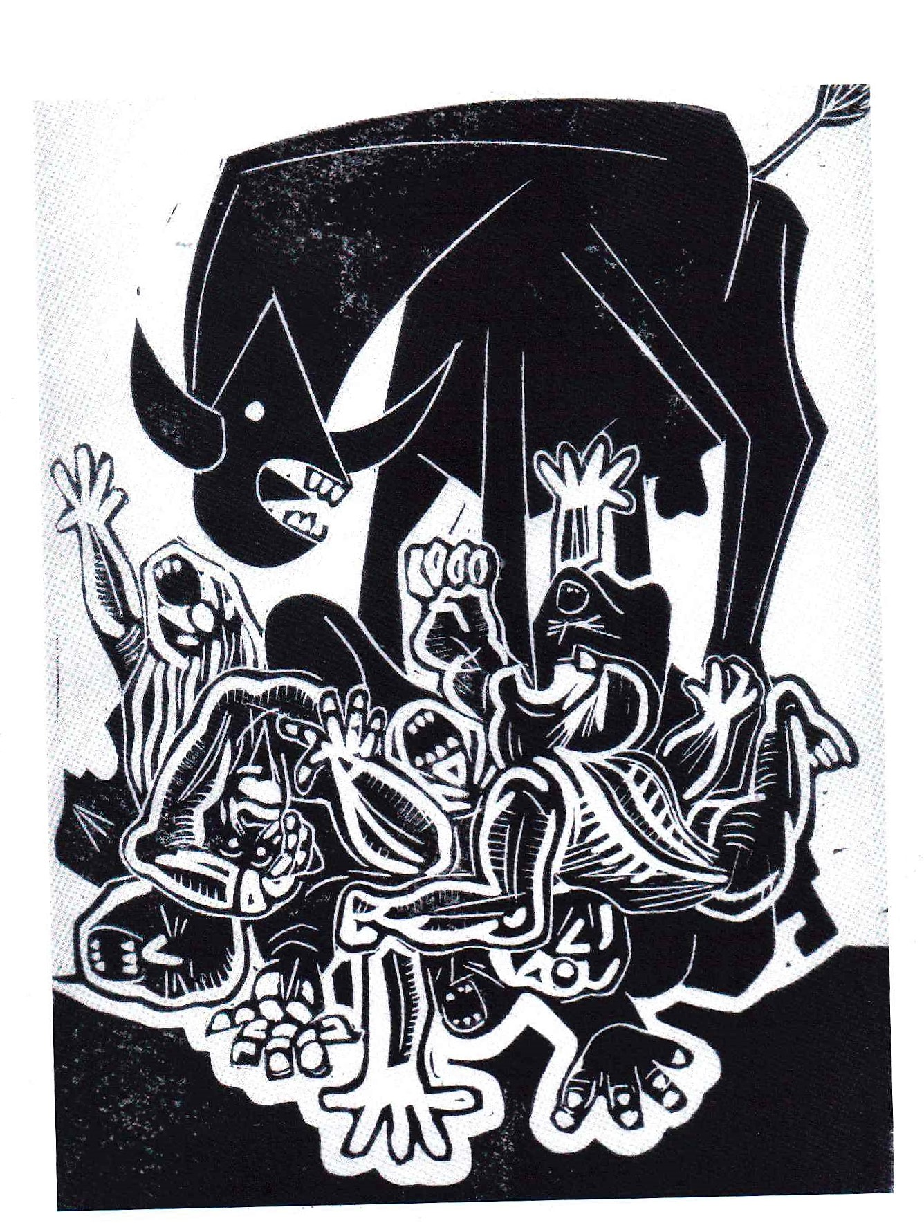 Jeff Perks- Iraq.We're killing people to make the world a safer place. Linocut.40x30cm