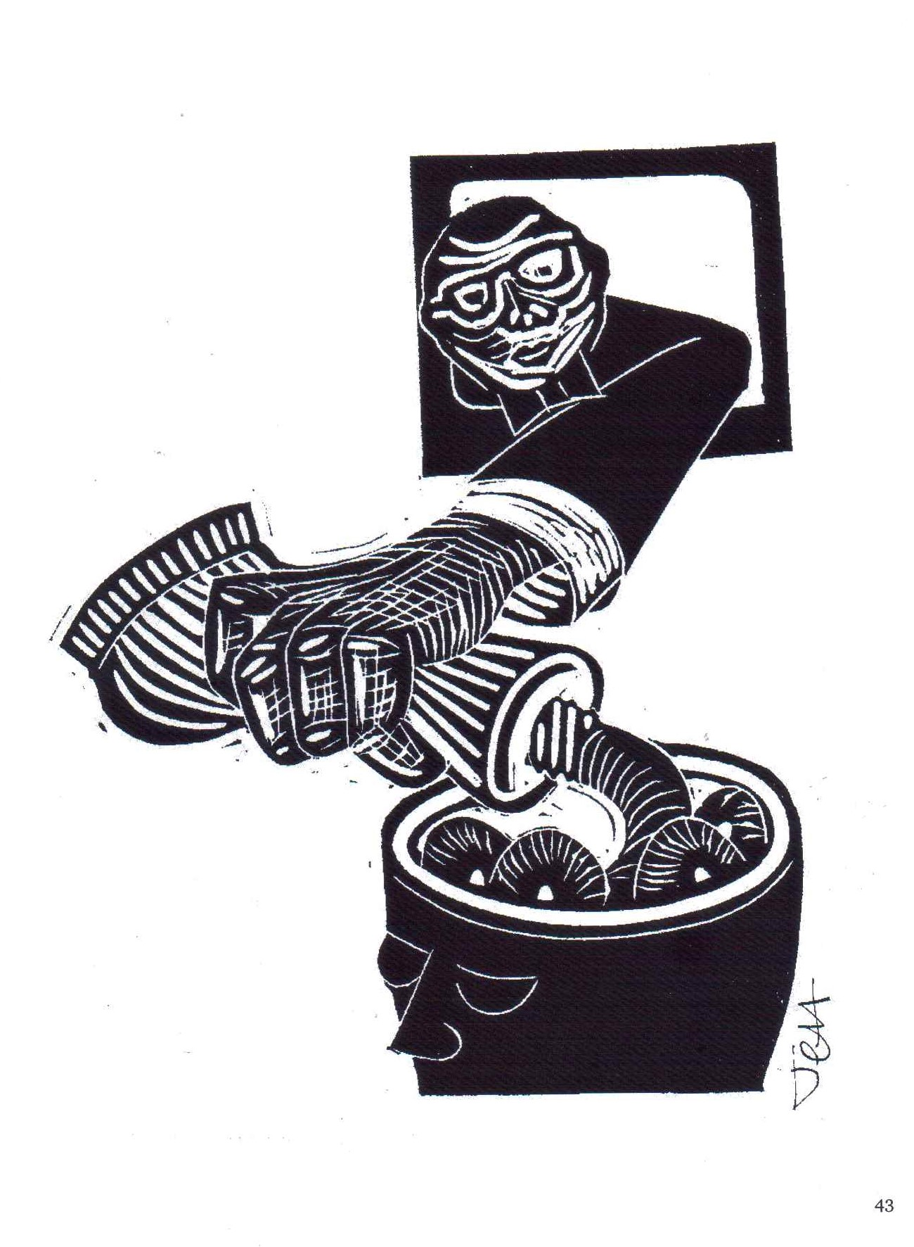 Jeff Perks. Iraq. Fill Her Up! Linocut. 30x20cm