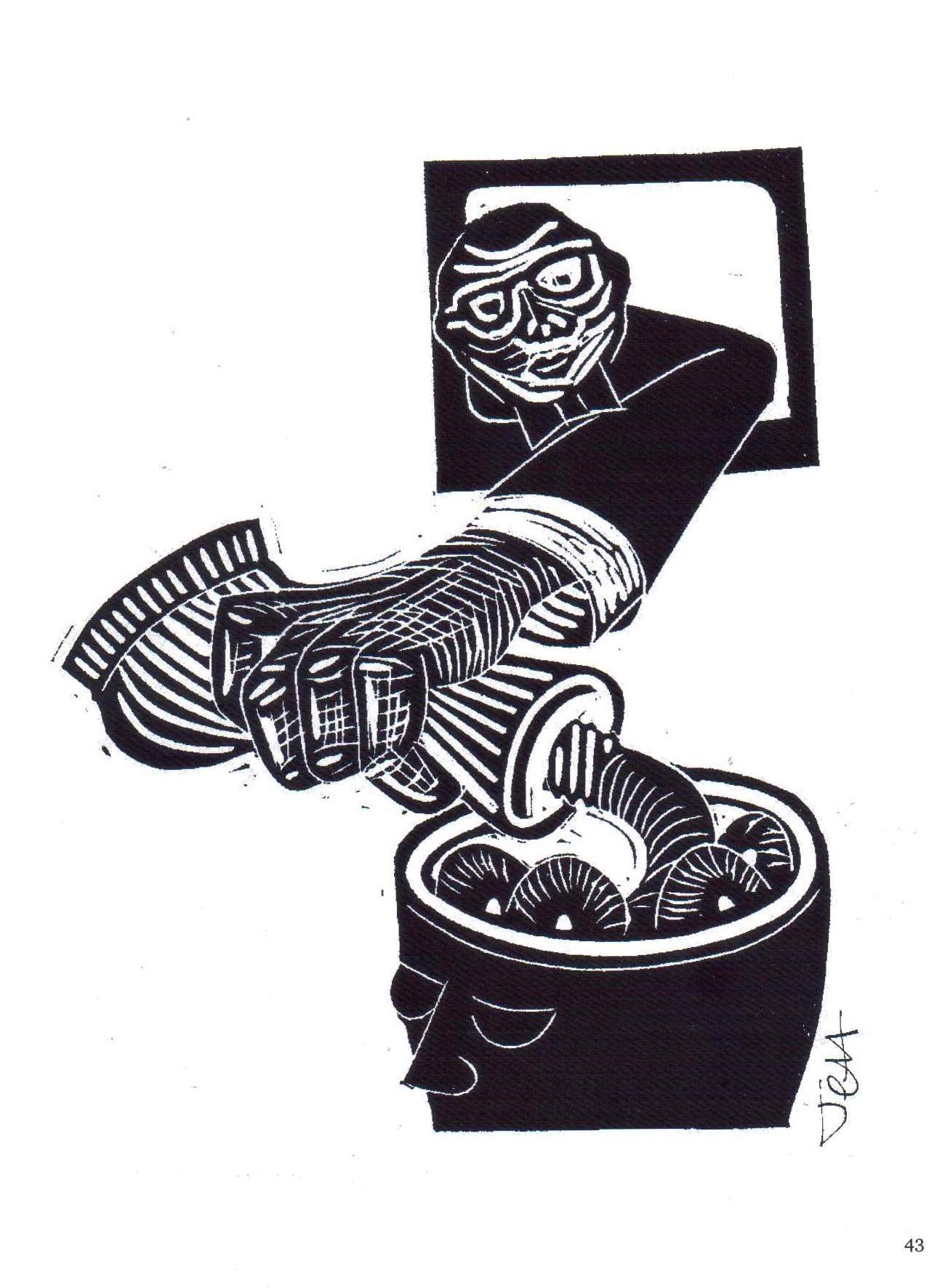 Jeff Perks. Iraq. Fill Her Up! Linocut. 30x20cm