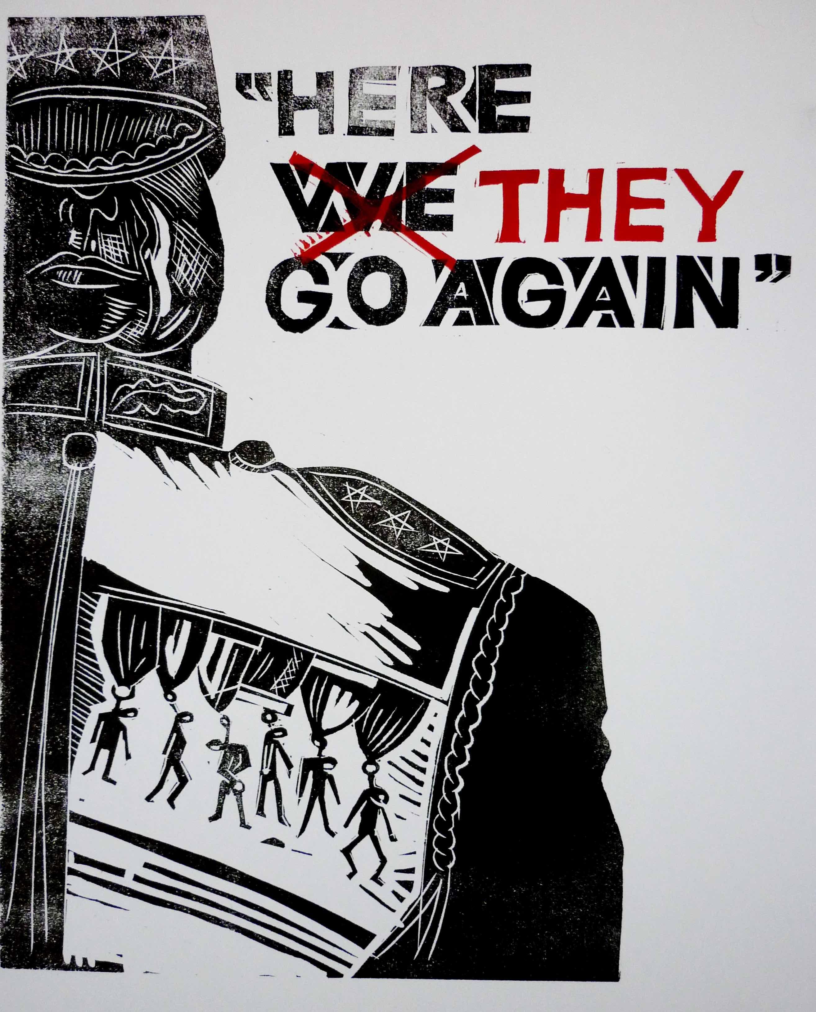 Jeff Perks-Iraq Anti-War Poster linocut 50x40cm