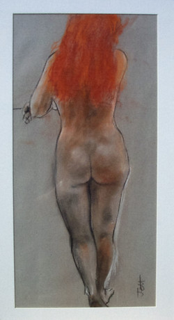 Jeff Perks- Girl with the Red Hair standing. Charcoal and Red Crayon. 40x30cm