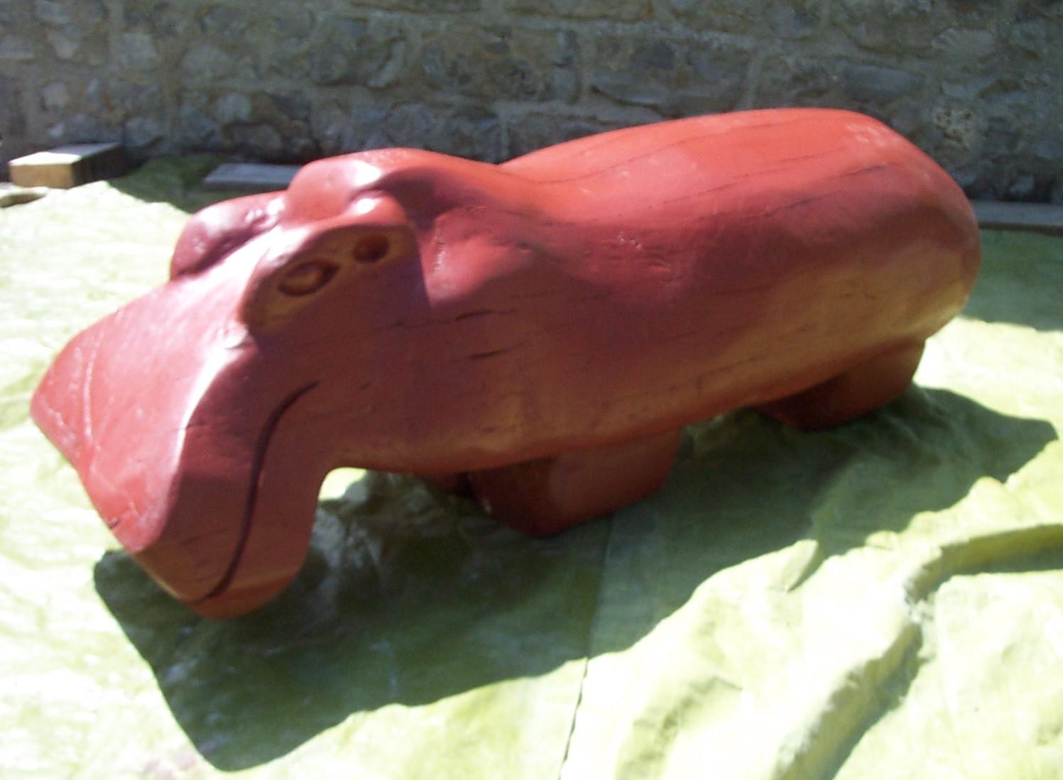 Jeff Perks-Hippo (Fallen Elm Wood) 152x60x60cm