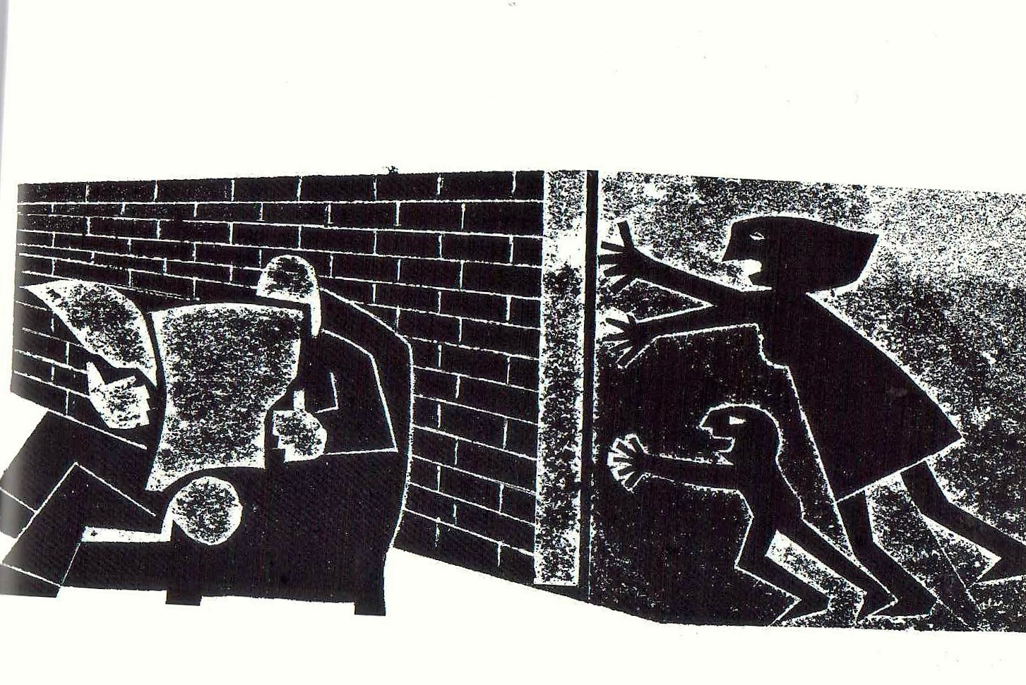 Jeff Perks- The Wall. Linocut.