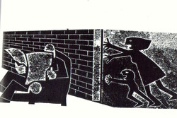 Jeff Perks- The Wall. Linocut.
