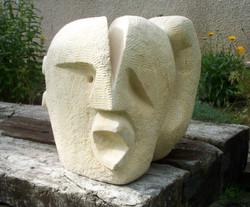 Jeff Perks. Split Portland Stone.40x40x40cm