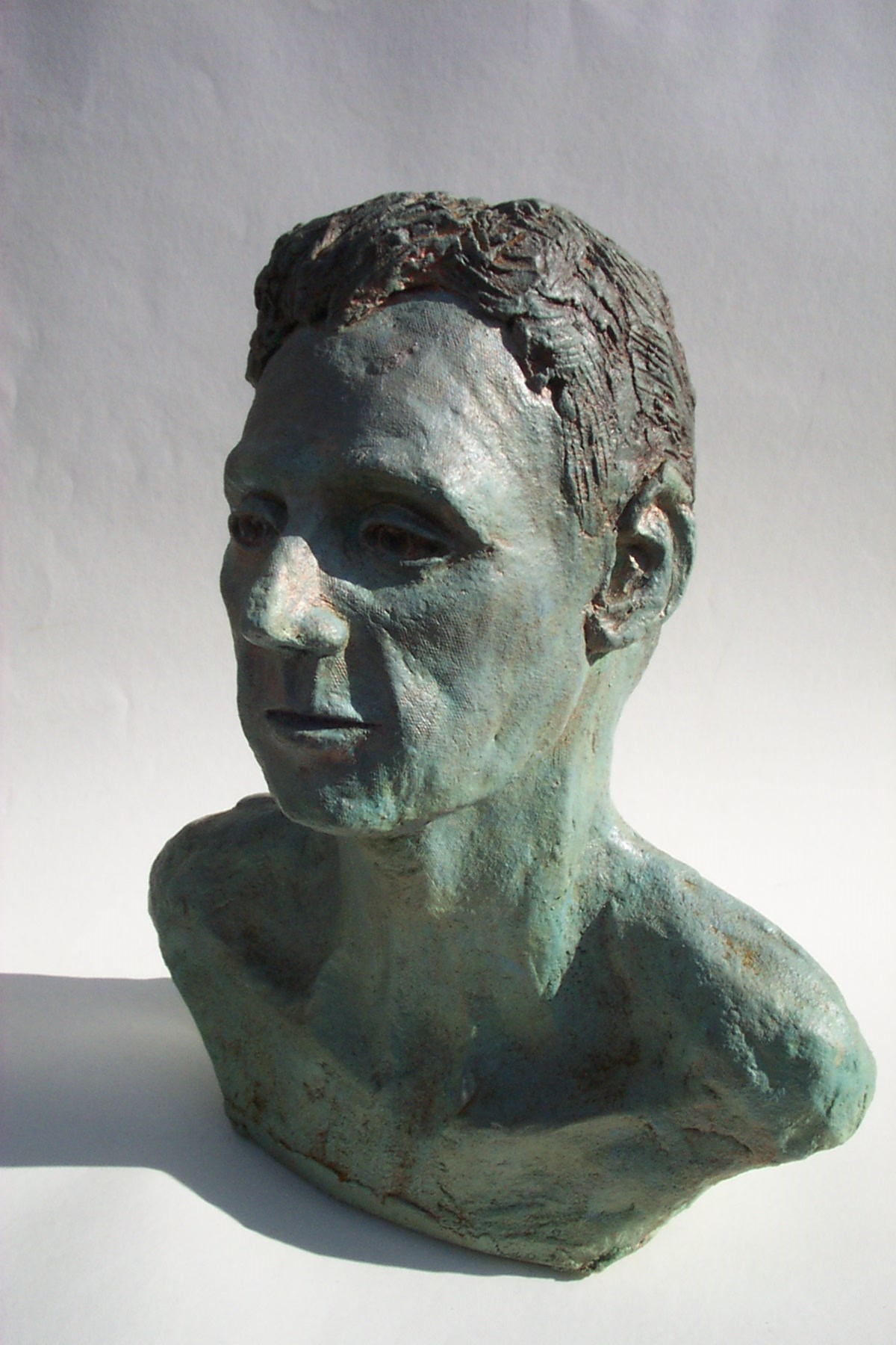 Jeff Perks-Pete Bronze. front view.40x30x30cm