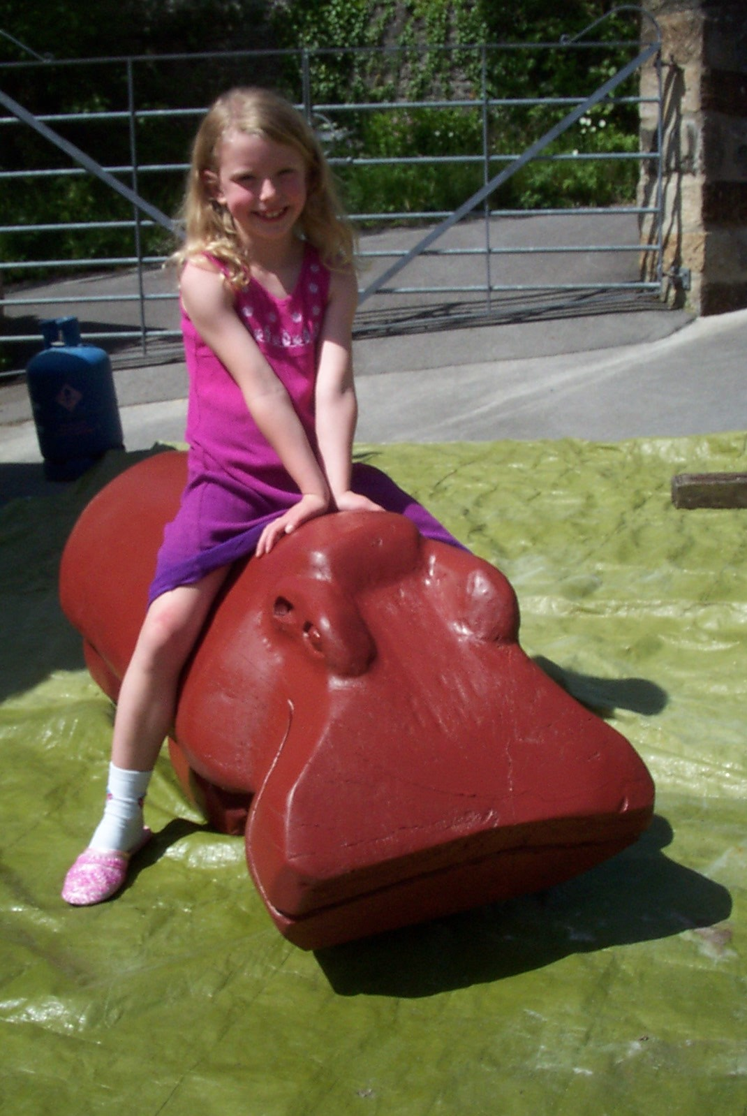 Jeff Perks-Girl on a Hippo (Fallen Elm) 140x60x60cm)