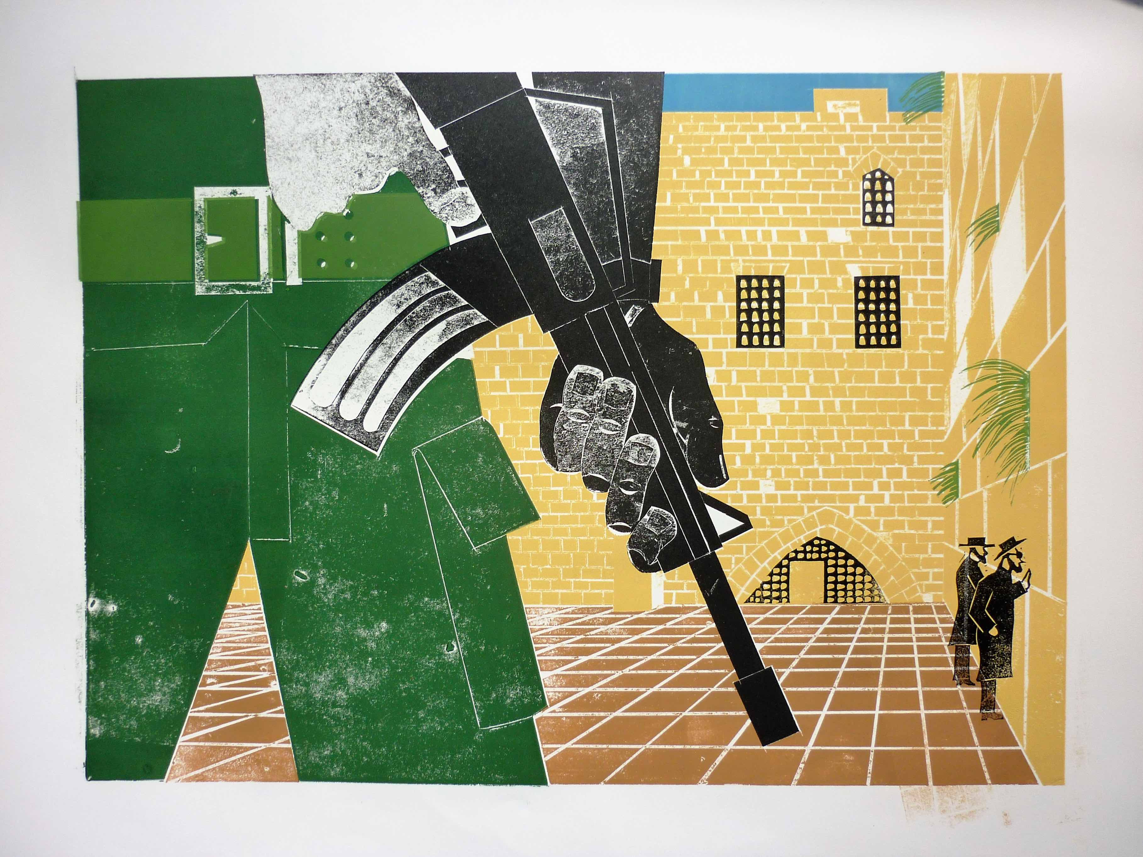 Jeff Perks- Jerusalem. Wailing Wall. Linocut and Cardboard Cut. 60x40cm