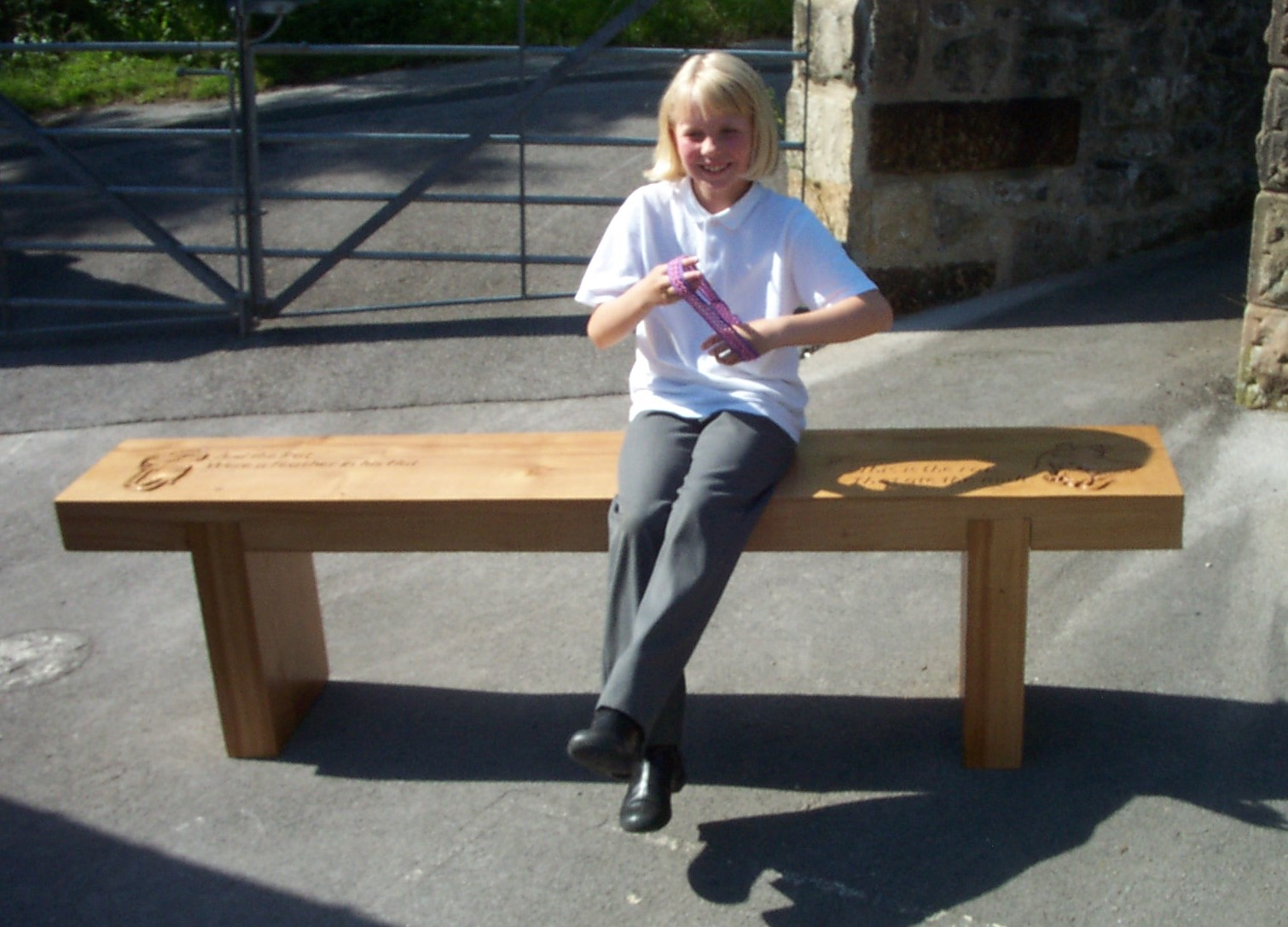 Jeff Perks-Children's Bench Occupied (Oak) 150x30x50cm