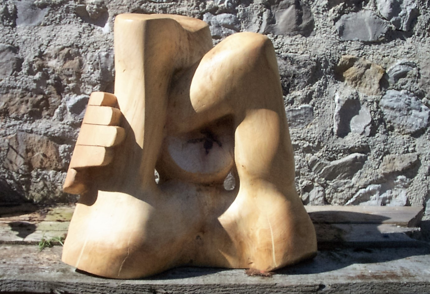 Jeff Perks-See No Evil. Oak. 50x30x30cm