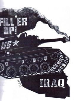 Jeff Perks-Iraq. Fill Her Up!Cardboard Cut 40x30cm